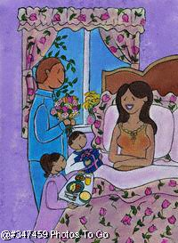 Illustration: Mothers Day breakfast in bed