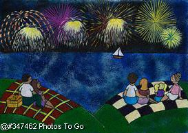Illustration: Fourth of July fireworks