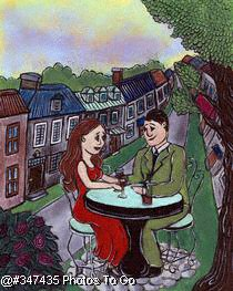 Illustration: Romantic dinner at the cafe